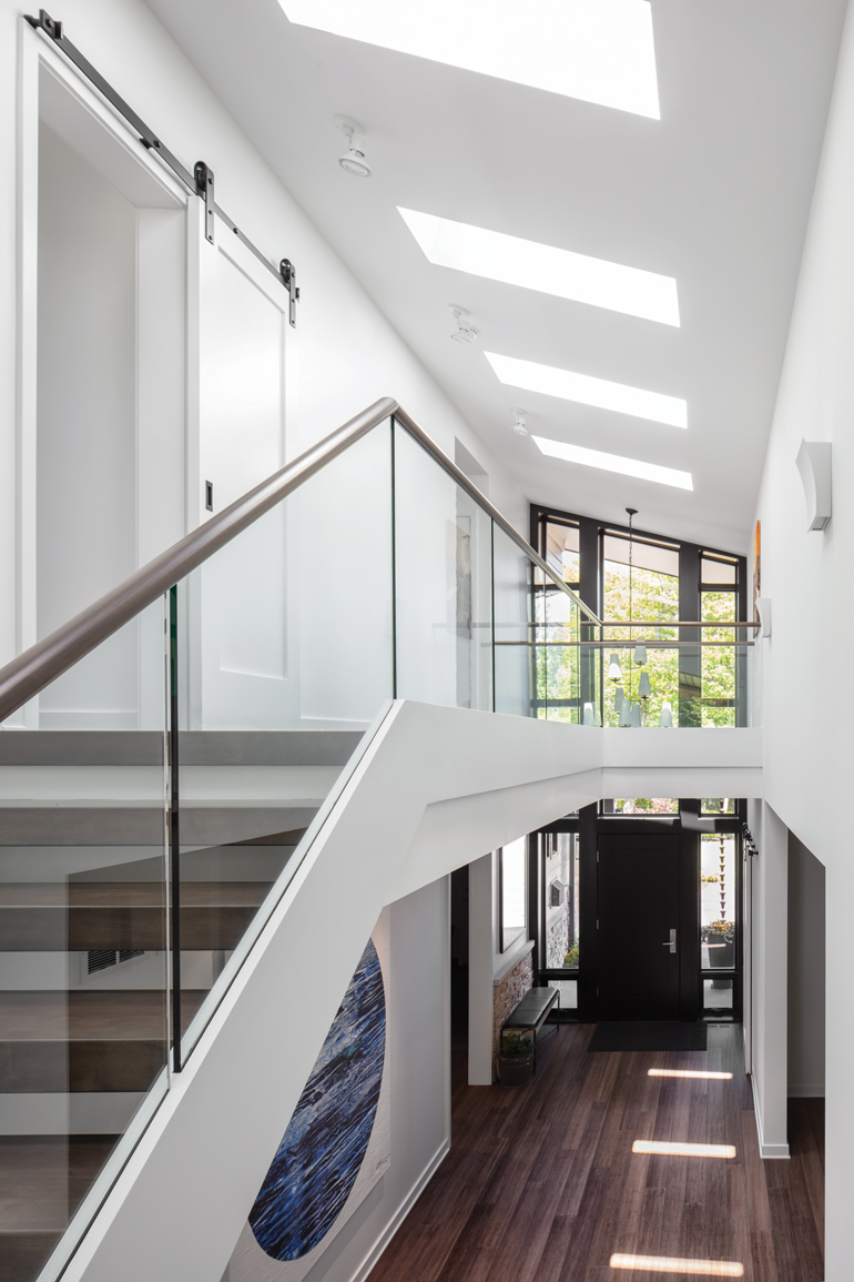The front foyer of a green home designed by Kipnis Architecture and Planning
